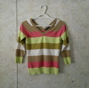 Dynamite pastel half sleeve striped v-neck